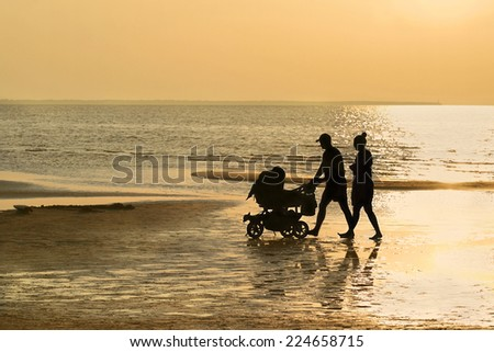 Family relationship is real gold - Silhouettes of man and woman with baby carriage and dog walking on beach among golden sunset - stock photo