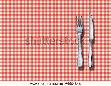 Family restaurant place setting with a classic red and white checkered table cloth with a silver fork and knife as a symbol of fine italian food cuisine and traditional americana fast food eateries. - stock photo