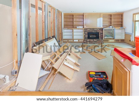Family room being stripped in preparation for remodel - stock photo