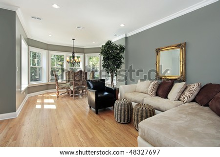 Family room in condo with rounded table area - stock photo
