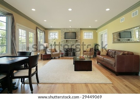 Family room in upscale home - stock photo