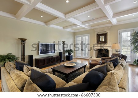 Family room with ceiling beams - stock photo