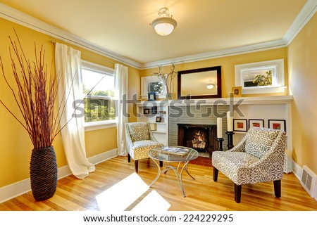 Family room with cozy sitting area. Two chairs and glass top coffee table. Room decorated with dry bushes - stock photo