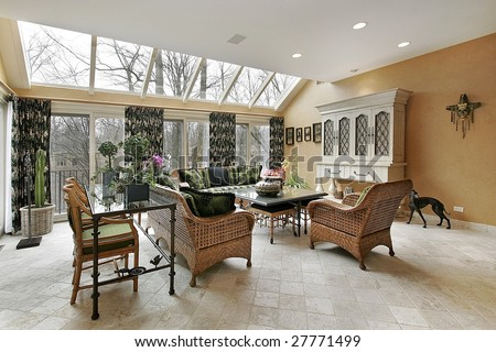 Family room with doors to outside
