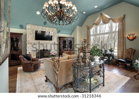 Family room large chandelier stock photo 31218346 shutterstock family room with large chandelier mozeypictures Gallery