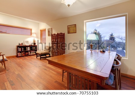 Family room with large dining table - stock photo