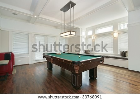 Family room with pool table - stock photo