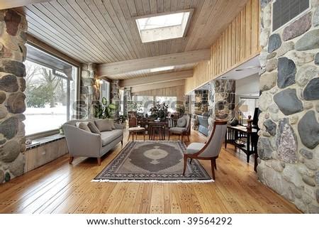 Family room with stone walls - stock photo