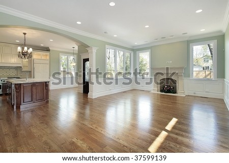 Family room with view into kitchen