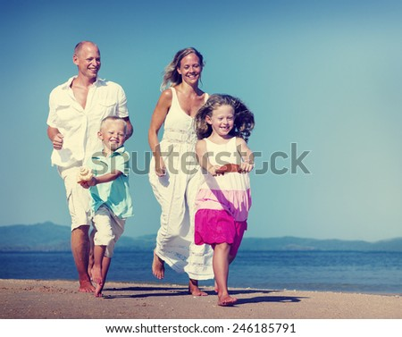 Family Running Playful Vacation Beach Holiday Concept - stock photo