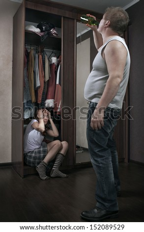 family scandal due to alcohol - stock photo