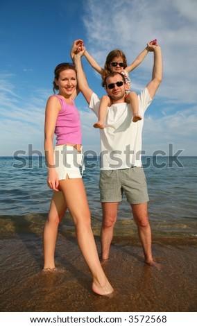 family sea beach - stock photo