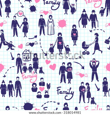 Family seamless pattern with hand drawn married couples kids and parents  illustration - stock photo