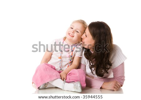 Family Secrets betweet mother and daughter isolated on white