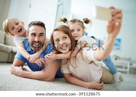 Family selfie - stock photo