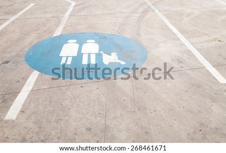 Family sigh at the ground - stock photo