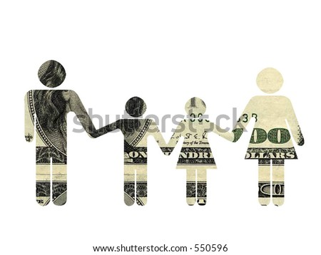 Family silhouette, textured with $100 bill. Isolated on the white - stock photo