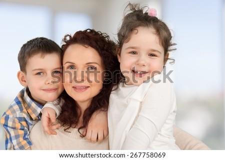 Family. Single mom - stock photo