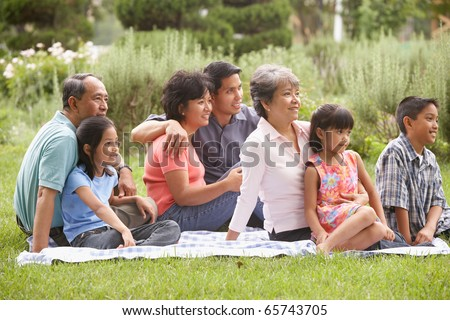 Family sitting on blanket