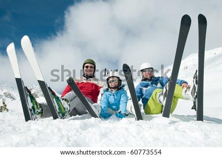 Family, ski, sun and fun - stock photo