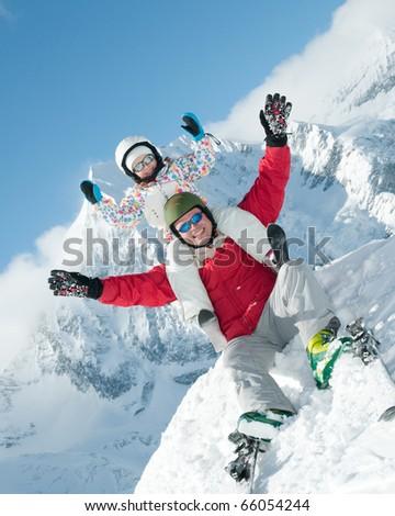 Family, ski, sun and fun - stock photo