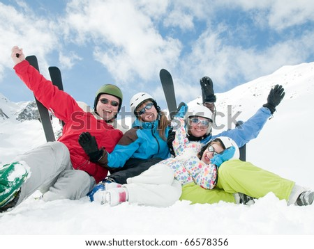 Family ski, sun and fun - stock photo