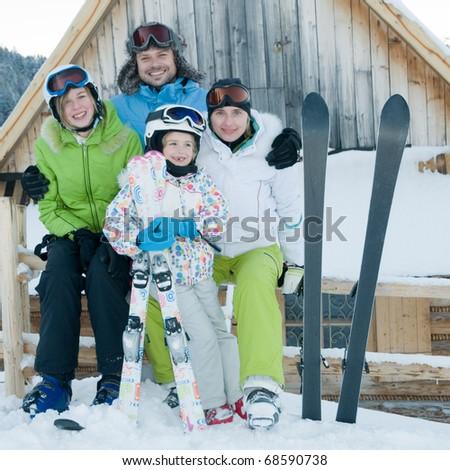 Family ski team - stock photo