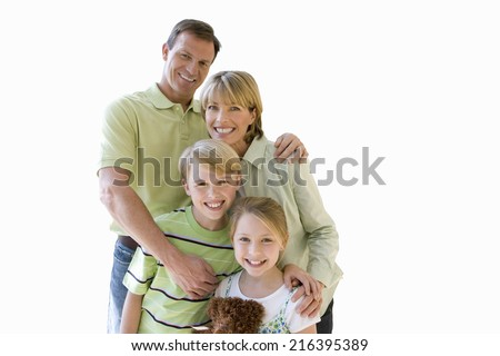 Family, smiling, front view, portrait, cut out - stock photo