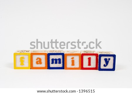 family spelled out in block letters