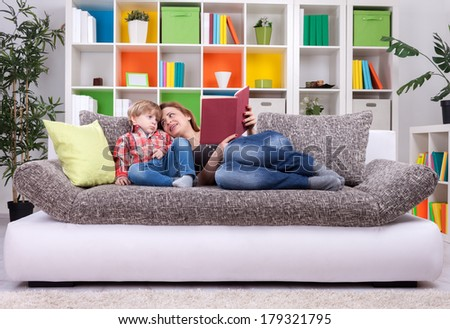 Family spend time to reading a book