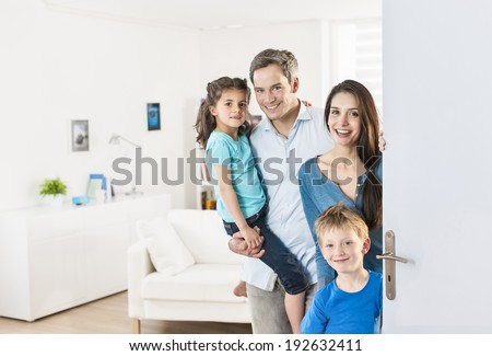 Family standing at front door to invite people at home  sc 1 st  Shutterstock & Family Standing Front Door Invite People Stock Photo (Download Now ...
