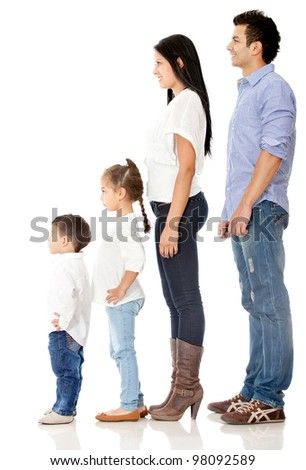 Family standing in a row - isolated over a white background - stock photo