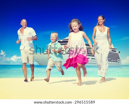 Family Summer Beach Relaxation Vacation Concept - stock photo