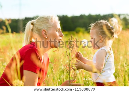 Family summer - blowing dandelion seeds in sunshine - stock photo