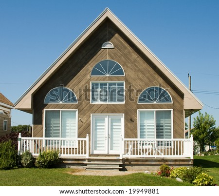 Family summer vacation on a lake in a small cottage - stock photo