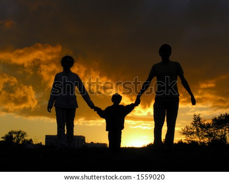 family sunset - stock photo