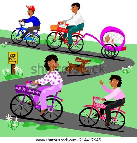 Family takes a bike ride.  A family takes a bike ride on the trail - stock photo