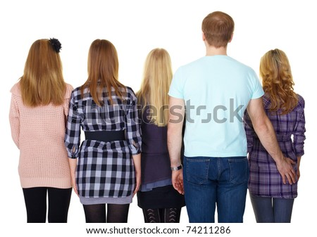Family. The view from the back - stock photo