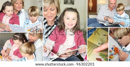 Family themed collage - stock photo