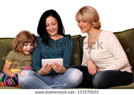 family three generation play with tablet pc