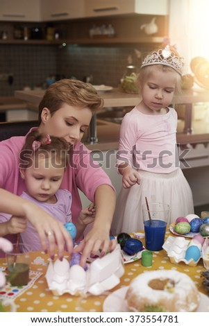 Family time before the Easter  - stock photo