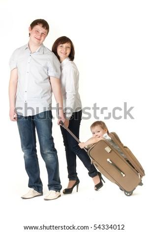 family travel - stock photo