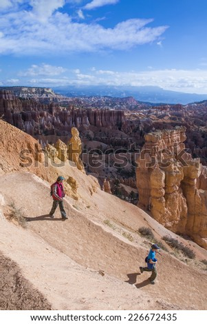 Family Travel National Park Bryce Canyon - stock photo