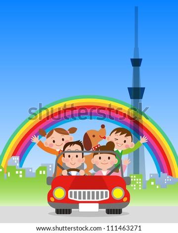 Family trip in Tokyo - stock photo