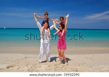 Family tropical vacation - stock photo