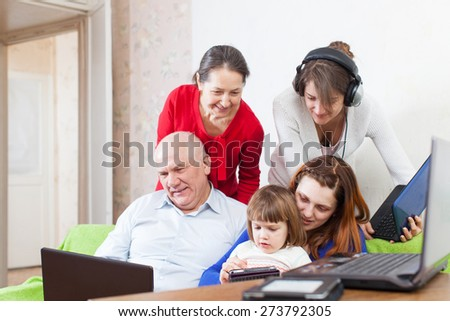 family uses few various electronic devices in home