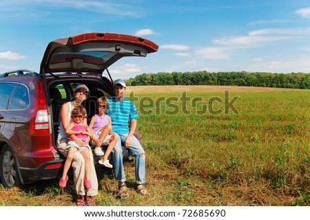 Family vacation, car trip - stock photo