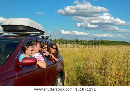 Family vacation, car trip on summer, happy parents travel with kids and having fun, car insurance concept  - stock photo
