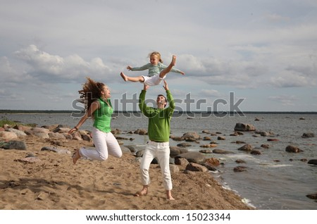 family vacation - freedom near the sea - stock photo
