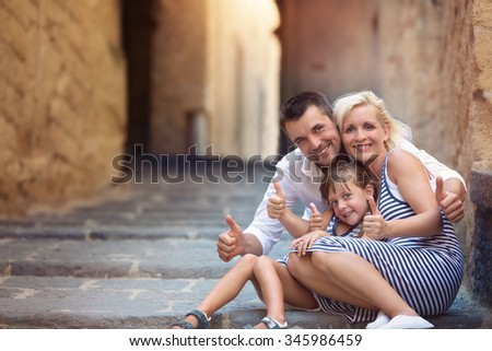 Family, vacation, tourism concept. Family portrait - stock photo